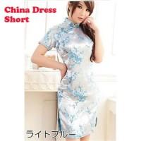 チャイナドレス 梅柄刺繍 ショートタイプ